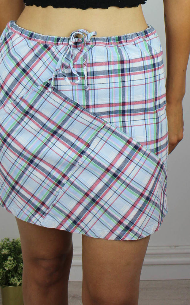 Vintage Tommy Hilfiger Checked Mini Skirt with Logo Side by Re:dream Vintage