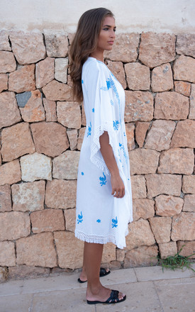 Mykonos Embroidered V Neck Midi Kaftan White / Blue by Kitten Beachwear Product photo
