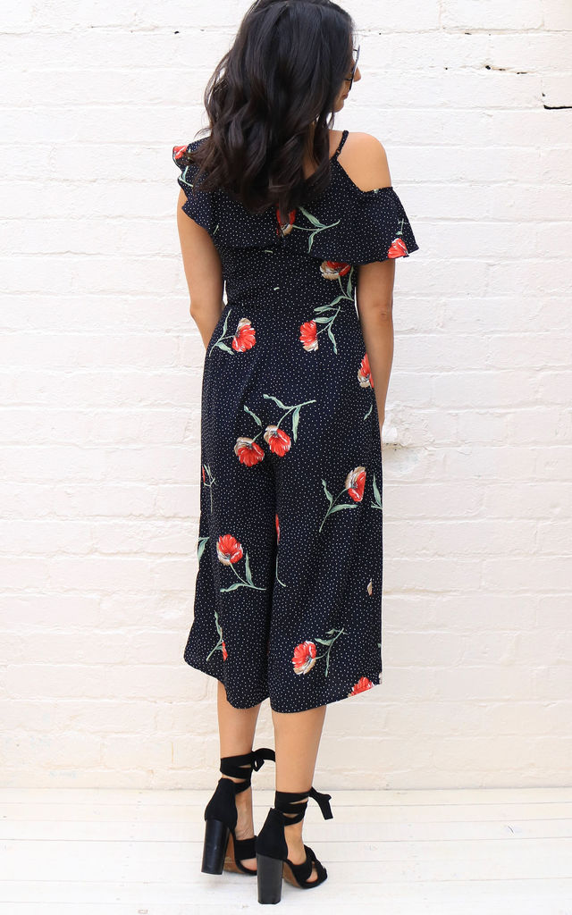 Ditsy Polka Dot & Floral Frill Shoulder Cropped Culotte Jumpsuit in Black by One Nation Clothing