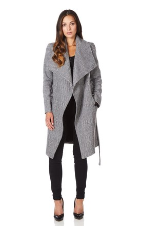 Courtney Prince Of Wales Check Large Lapel Duster Coat by De La Creme Fashions
