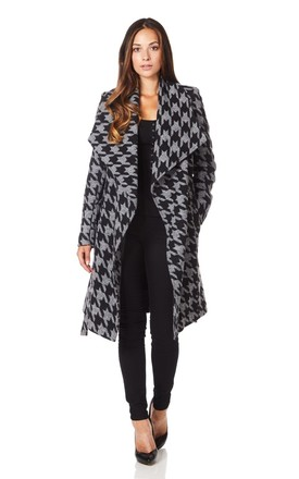 Courtney Grey Dogtooth Large Lapel Duster Coat by De La Creme Fashions Product photo