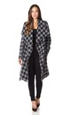 Courtney Dogtooth Large Lapel Duster Coat by De La Creme Fashions