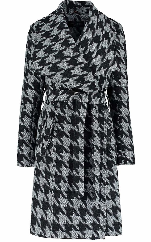Courtney Grey Dogtooth Large Lapel Duster Coat by De La Creme Fashions