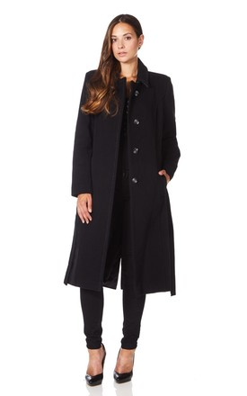 Jennifer Black Cashmere Blend Belted Coat by De La Creme Fashions Product photo