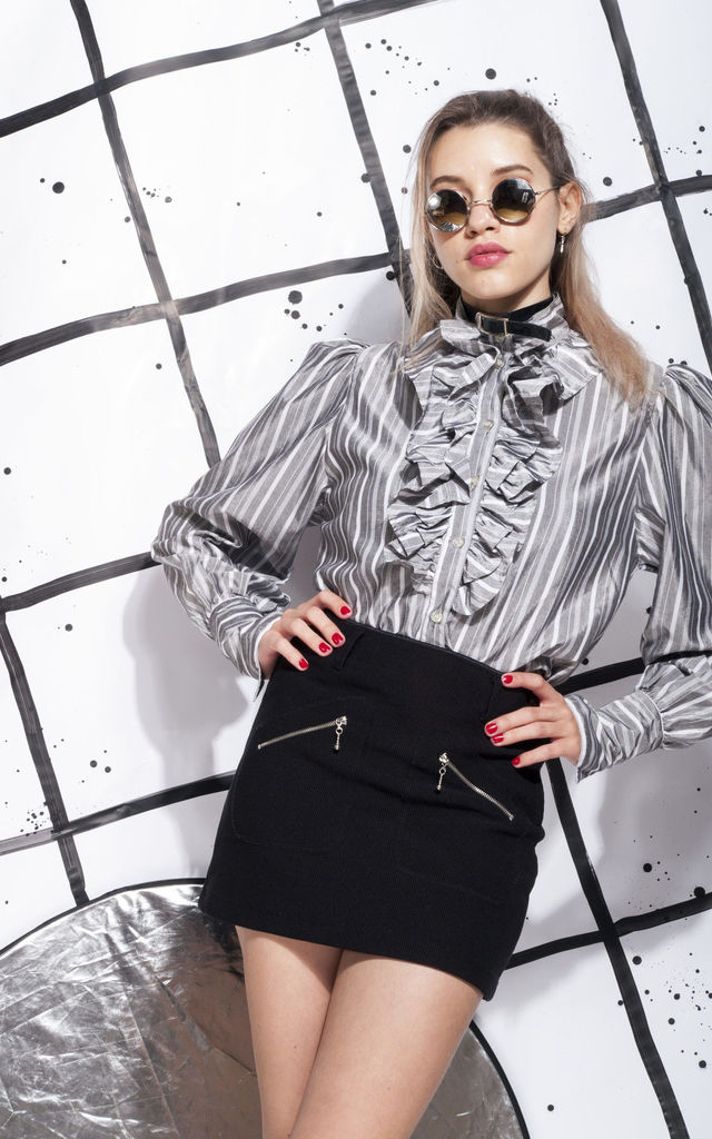 80s vintage jabot blouse in silver by Pop Sick Vintage