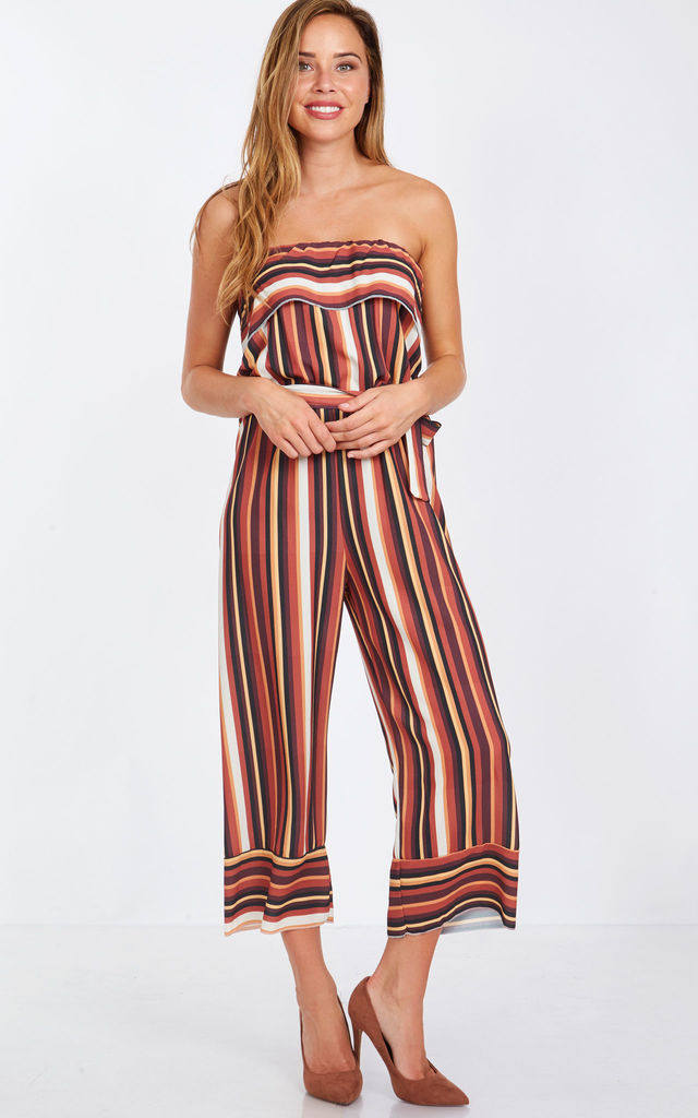 DIVINA – Layered Top Strapless Multi Striped Jumpsuit by Blue Vanilla