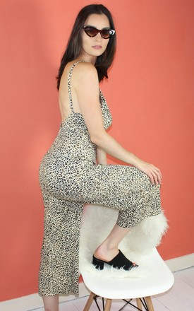 Backless Leopard Print Jumpsuit by HAUS OF DECK