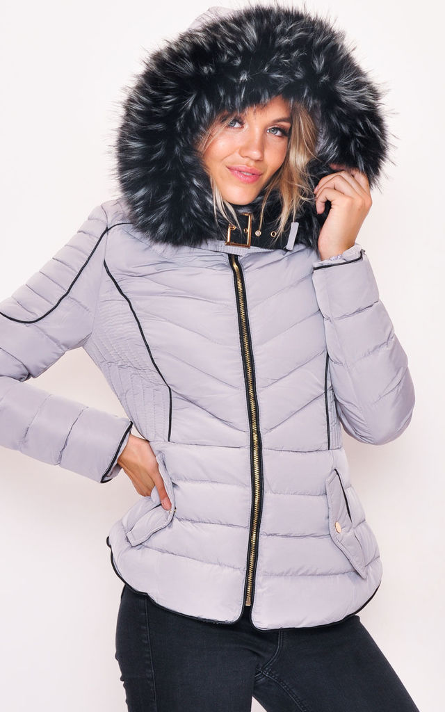 473d1f08d Quilted Faux Fur Hooded Padded Puffer Coat Grey By LILY LULU FASHION