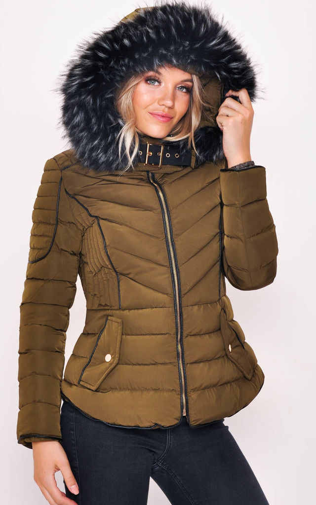 Quilted Faux Fur Hooded Padded Puffer Coat Khaki Green by LILY LULU FASHION