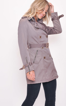 mid length double breasted trench coat grey by LILY LULU FASHION
