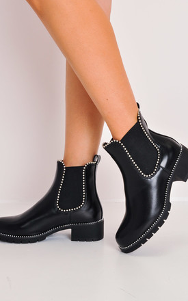 chunky studded chelsea ankle boots black by LILY LULU FASHION