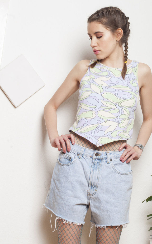 Hippie crop top - 90s vintage crazy print top by Pop Sick Vintage
