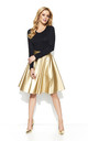 Gold Faux Leather Flared Skirt by Makadamia