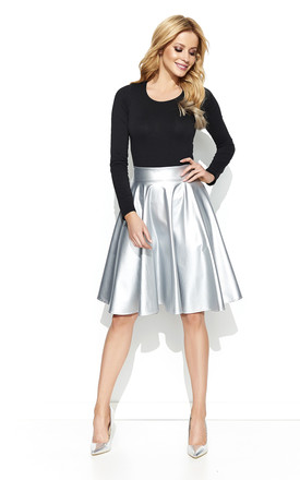 Silver Faux Leather Flared Skirt by Makadamia