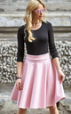 Powder Pink Faux Leather Flared Skirt by Makadamia