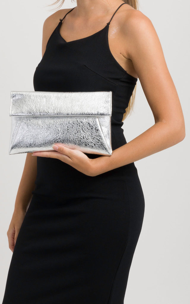 Whitney Silver Metallic Clutch Bag by KoKo Couture
