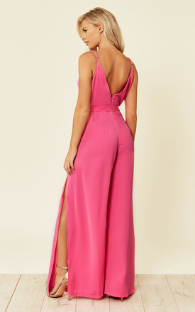 Split Leg Wrap Over Jumpsuit in Pink by Oeuvre