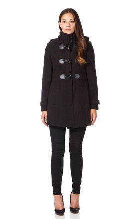 Angela Black Hooded Zip Toggle Fastened Coat by De La Creme Fashions Product photo
