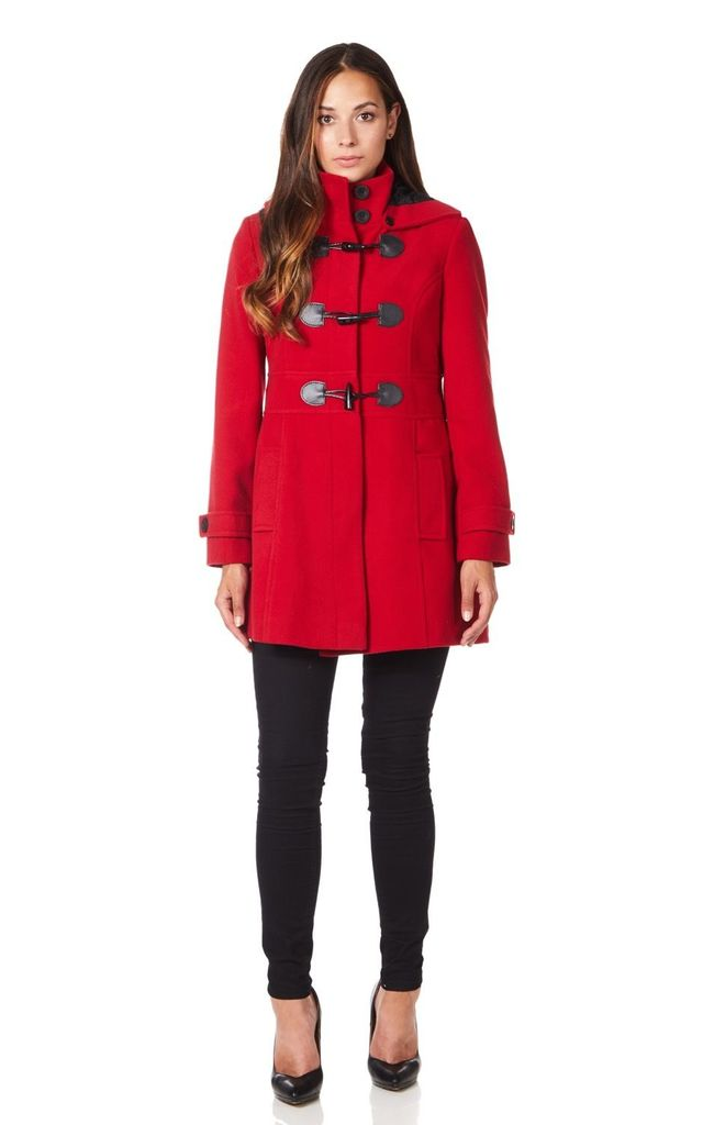 Angela Red Hooded Zip Toggle Fastened Coat by De La Creme Fashions