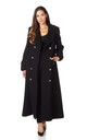 Carmelle Black Double Breasted Maxi Coat by De La Creme Fashions