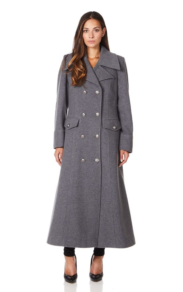 Carmelle Mid Grey Double Breasted Maxi Coat by De La Creme Fashions