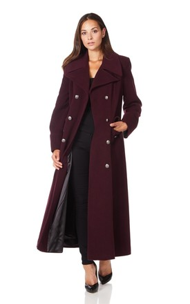 Carmelle Wine Double Breasted Maxi Coat by De La Creme Fashions Product photo