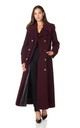 Carmelle Wine Double Breasted Maxi Coat by De La Creme Fashions