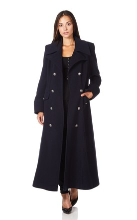 Carmelle Navy Double Breasted Maxi Coat by De La Creme Fashions Product photo
