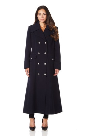 Carmelle Navy Double Breasted Maxi Coat by De La Creme Fashions