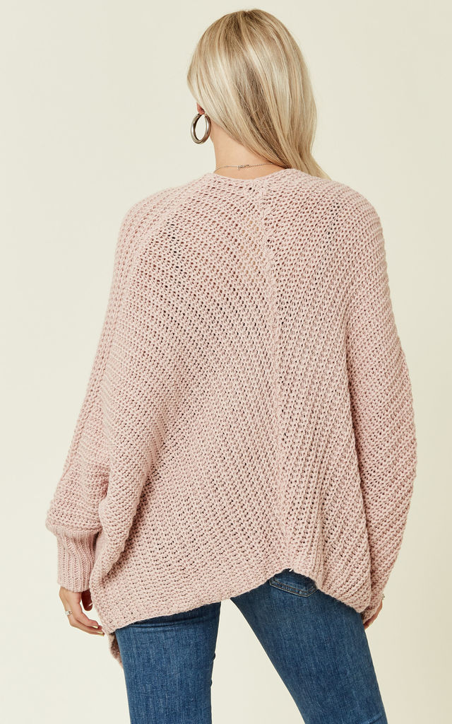 Batwing Loose Oversize Cardigan Jumper with Button in Pastel Pink by Love