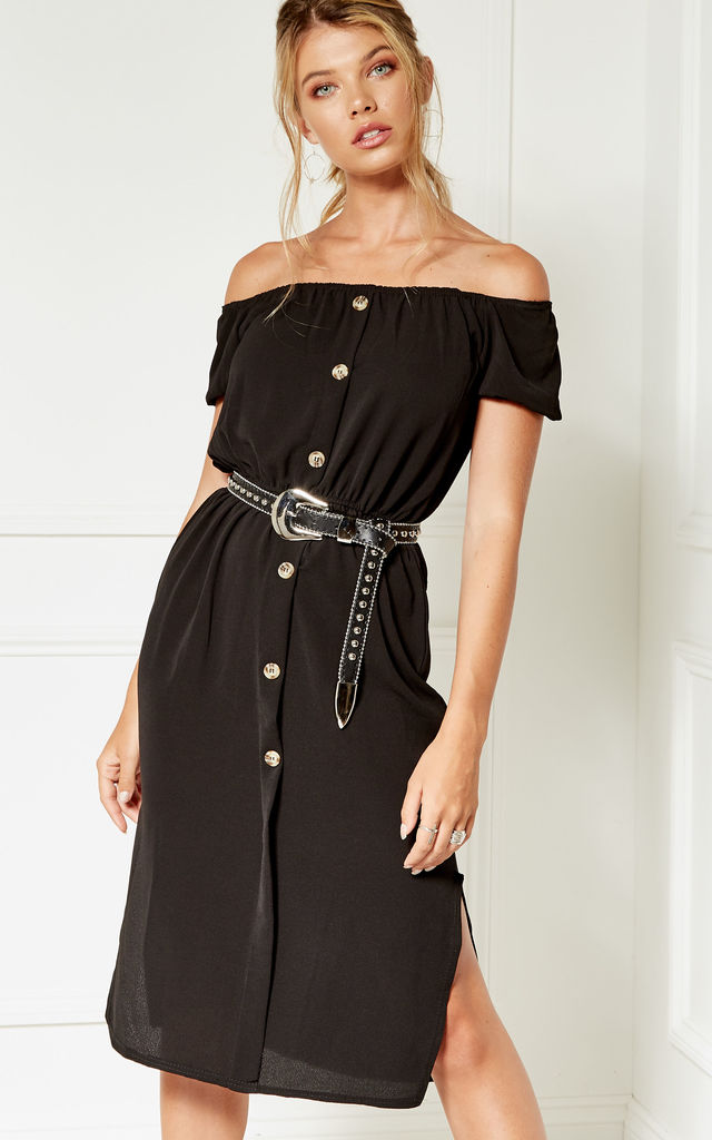 Black Bardot button dress by Bella and Blue
