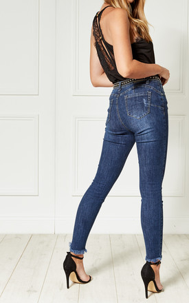 Dark Blue Mid Rise Denim Skinny Jeans with Frayed Edge by Bella and Blue