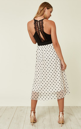 Weena Polka Dot Midi Skirt in Nude by TFNC