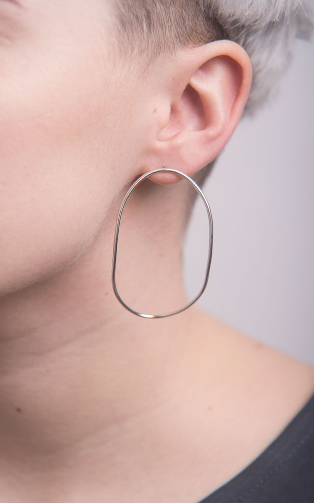 Sterling silver statement oval hoops by Studio Adorn