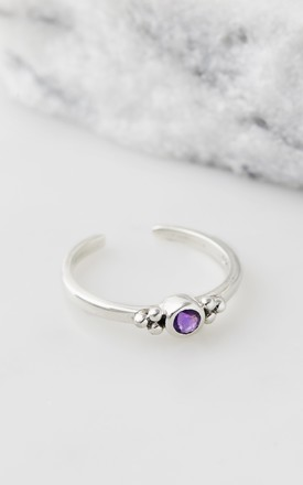 Holi Jewel Adjustable Silver Midi/Toe Ring in Amethyst by Charlotte's Web