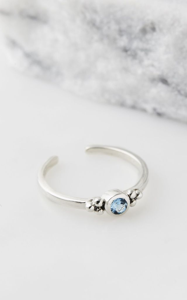 Holi Jewel Adjustable Silver Midi/Toe Ring in Blue Topaz by Charlotte's Web