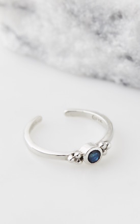 Holi Jewel Adjustable Silver Midi/Toe Ring in Sapphire by Charlotte's Web