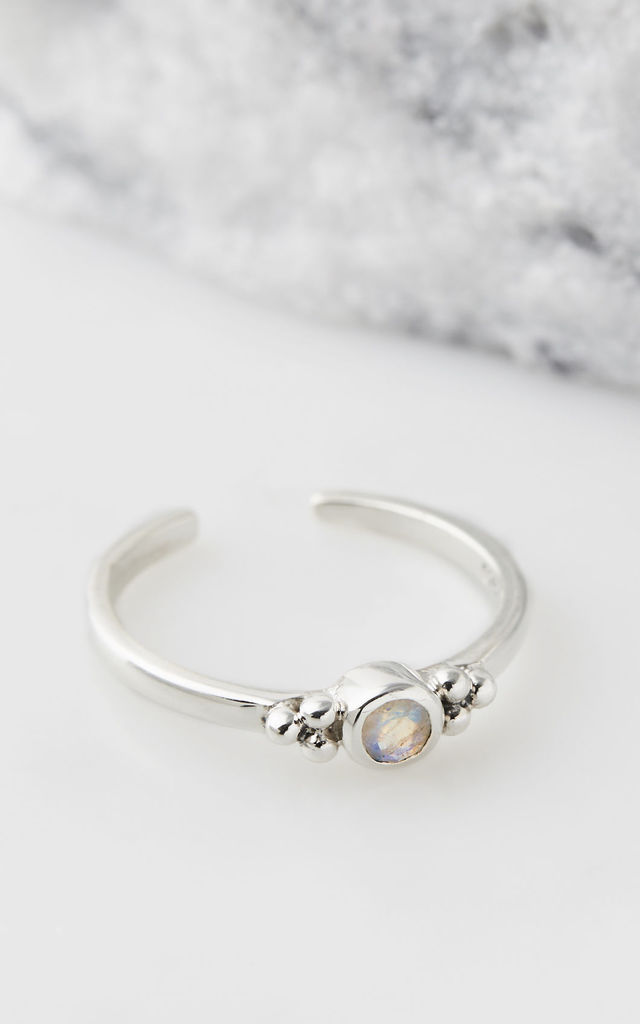 Holi Jewel Adjustable Silver Midi/Toe Ring in Moonstone by Charlotte's Web