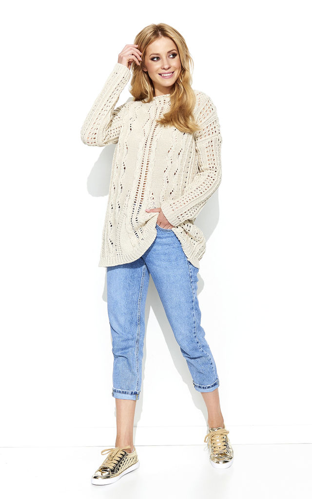 Beige Oversized Knit Jumper by Makadamia