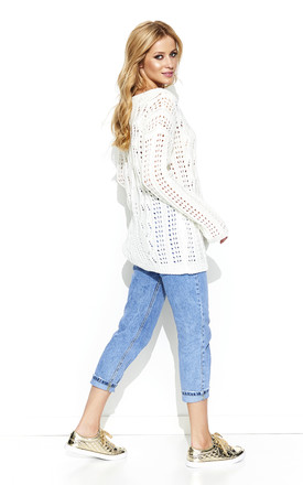 Oversized knit jumper in white by Makadamia
