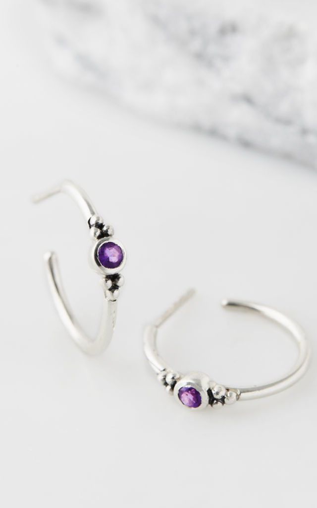 Holi Jewel Hoops - Amethyst by Charlotte's Web