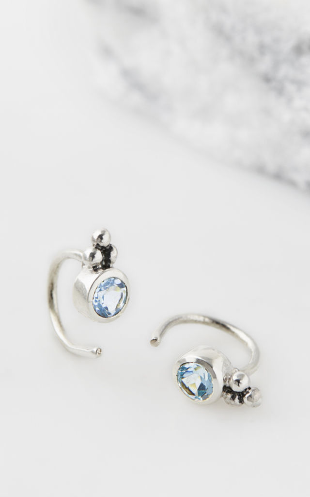 Holi Jewel Stud Hoops - Blue Topaz by Charlotte's Web