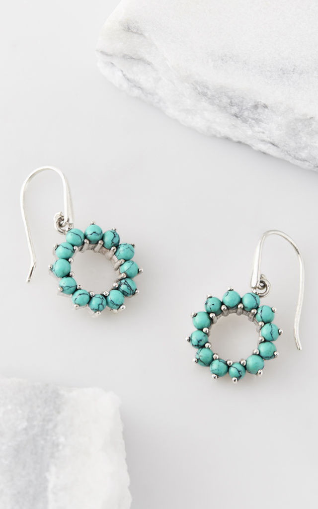 Halo Radiance Turquoise Drop Earrings by Charlotte's Web
