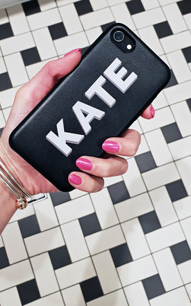 Faux leather personalised black and grey phone case by Rianna Phillips