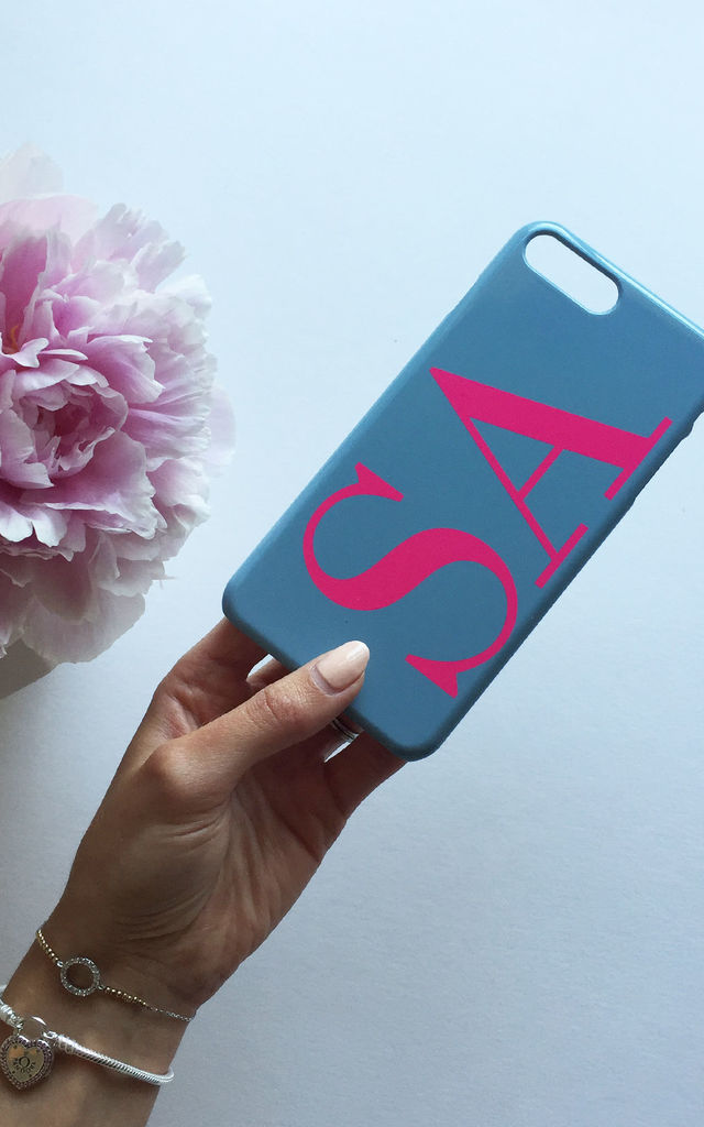 Grey & Neon Pink monogram phone case by Rianna Phillips