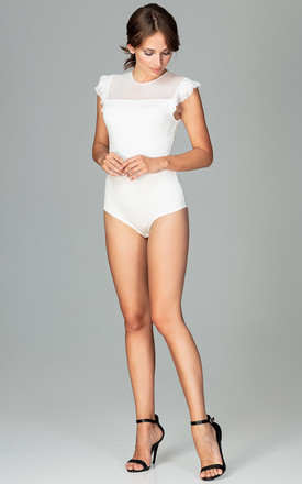 Frill sleeve Bodysuit in white by LENITIF