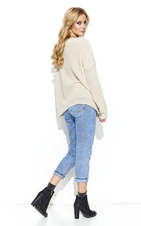 Beige Openwork Jumper Sweater by Makadamia