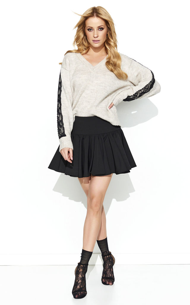 V Neck Jumper with Lace Detailed Sleeves in Beige by Makadamia