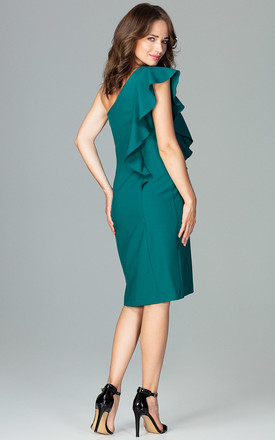 Green Midi One-Shoulder Dress With a Frill by LENITIF