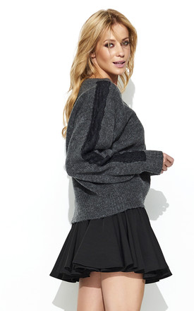 Graphite V Neck Lace Inserts Sweater by Makadamia